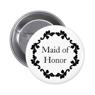 Elegant black and white wedding maid of honor 2 inch round button
