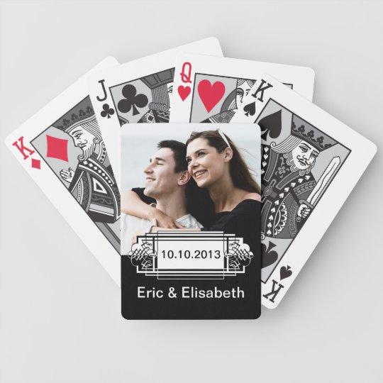 Elegant Black and White Wedding Souvenir Photo Poker Deck