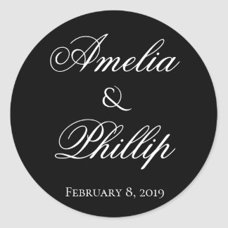 Elegant Black and White Wedding Stickers