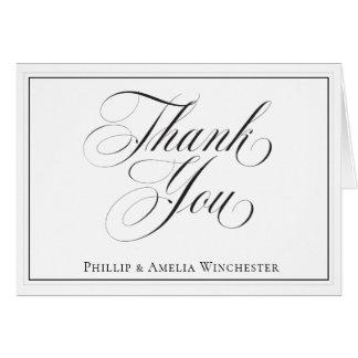 Elegant Black and White Wedding Thank You Card