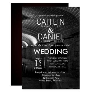 Elegant Black and White Wine Cellar Wedding Card