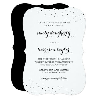 Elegant Black and White with Delicate Dots Wedding Card