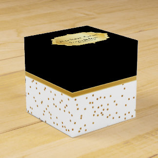 Elegant Black and White with Gold Confetti Dots Party Favor Box