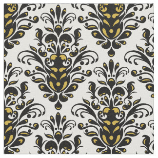 Elegant  black and white with touch of gold damask fabric