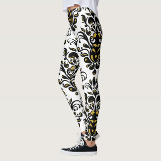 Elegant  black and white with touch of gold damask leggings