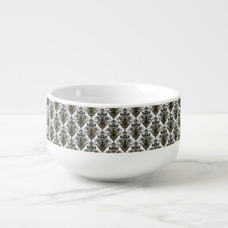 Elegant  black and white with touch of gold damask soup mug