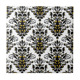 Elegant  black and white with touch of gold damask tile