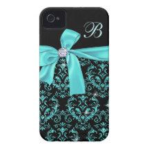Elegant Black Aqua Damask Diamond Bow Monogram iPhone 4 Case-Mate Case