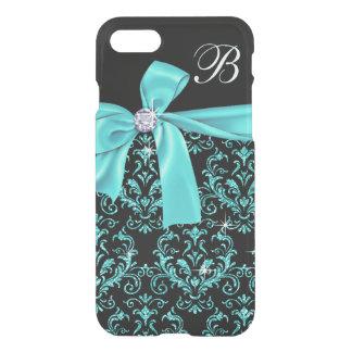 Elegant Black Aqua Damask Diamond Bow Monogram iPhone 8/7 Case