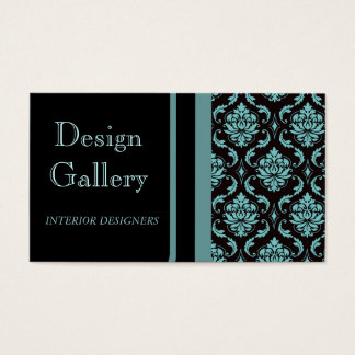 Elegant Black Blue Damask Business Card