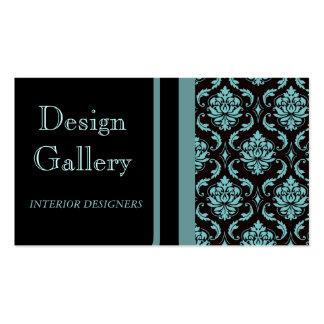 Elegant Black Blue Damask Business Card