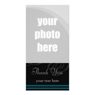 Elegant Black Blue Thank You Customized Photo Card