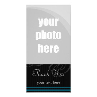 "Elegant Black/Blue ""Thank You"" Photo Greeting Card"