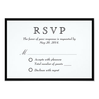 Elegant Black Border Wedding RSVP Card