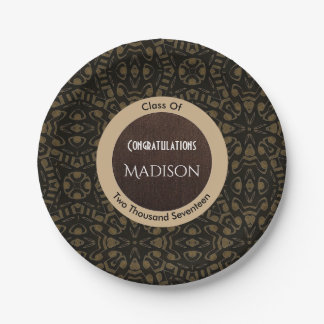 Elegant Black & Brown Abstract Graduation Paper Plate