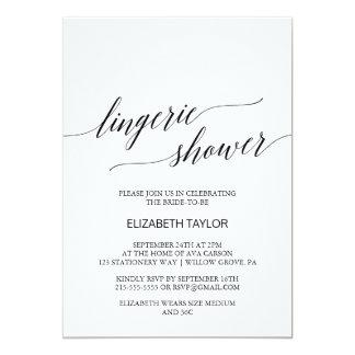 Elegant Black Calligraphy Lingerie Shower Card