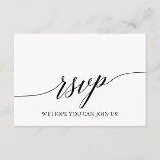 Elegant Black Calligraphy Website RSVP Card