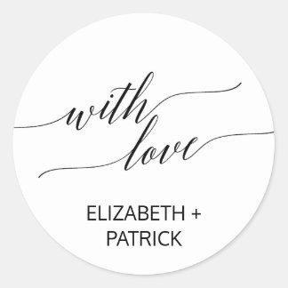Elegant Black Calligraphy Wedding Favor Classic Round Sticker