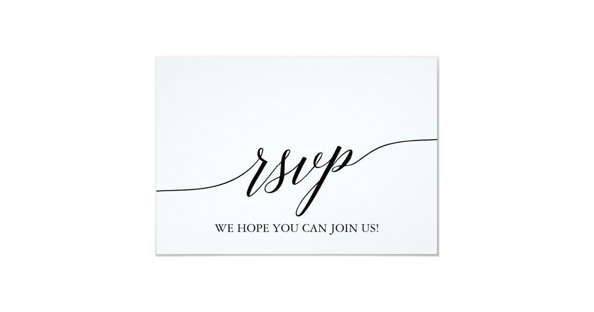 Elegant Black Calligraphy Wedding Website Rsvp Card Zazzle