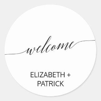 Elegant Black Calligraphy Wedding Welcome Classic Round Sticker