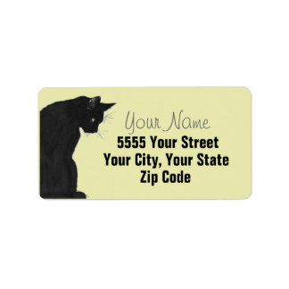 Elegant Black Cat Address Labels