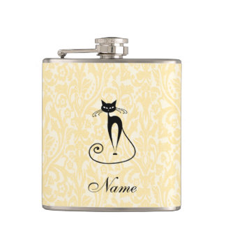 Elegant black cat damask vintage custome name hip flask