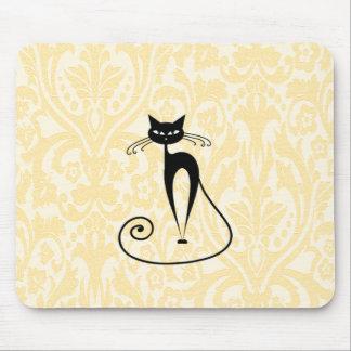 Elegant black cat damask vintage mouse pad