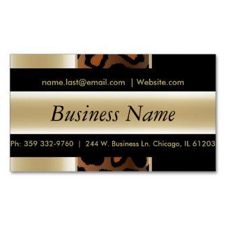 Elegant Black & Champagne Leopard Stripes Magnetic Business Card