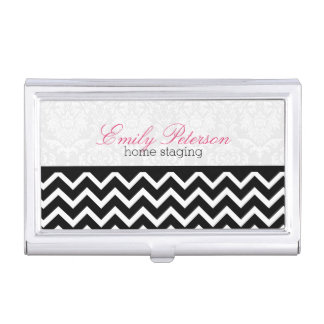 Elegant Black Chevron And White Damasks Business Card Holder