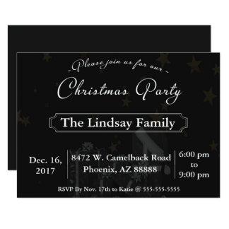 Elegant Black Christmas Party Invitation
