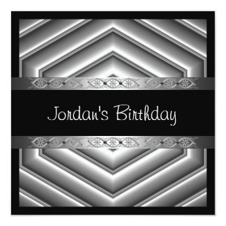 Elegant Black Chrome Silver Trim Card