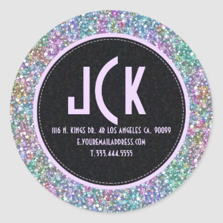 Elegant Black Colorful Purple Glitter & Sparkles 2 Classic Round Sticker