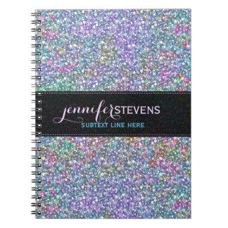 Elegant Black Colorful Purple Glitter & Sparkles Notebook