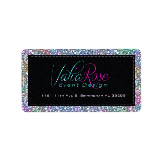 Elegant Black Colourful Purple Glitter & Sparkles Label