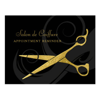 Elegant Black Curls Faux Gold Scissors Appointment Postcard
