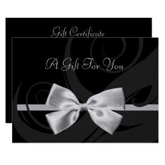 Elegant Black Curls Silver Bow Gift Certificate Card