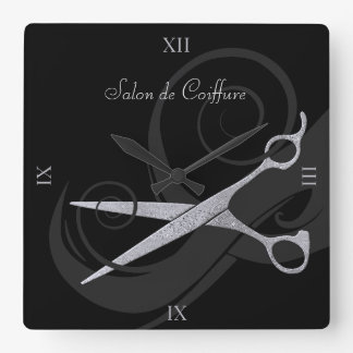 Elegant Black Curls Silver Scissors Hair Salon Square Wall Clock