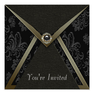 Elegant Black Damask Black and Gold Party Card
