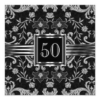 Elegant Black Damask Brocade Silver Birthday Party Card