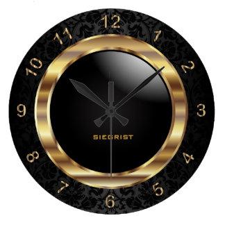 Elegant Black Damask Design Clocks