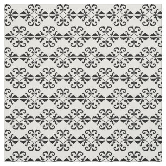 Elegant black damask on white background fabric