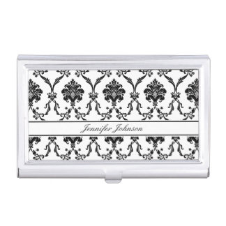 Elegant Black Damask Pattern Customizable Business Card Holder