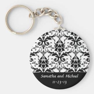 Elegant Black Damask Wedding Aniversary Date Keychain