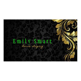 Elegant Black Damasks Gold Floral Lace 4 Pack Of Standard Business Cards