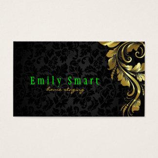 Elegant Black Damasks Gold Floral Lace 4 Business Card