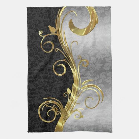 Elegant Black Damasks Gold & Silver Swirls Towel