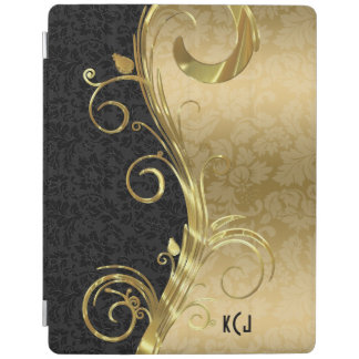 Elegant Black Damasks Gold Swirls iPad Cover