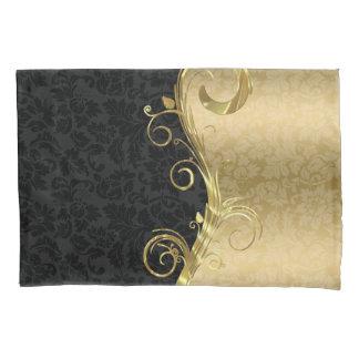 Elegant Black Damasks Gold Swirls Pillowcase