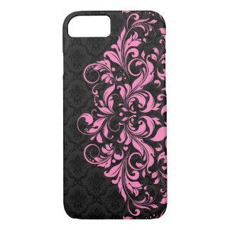 Elegant Black Damasks & Pink Lace iPhone 8/7 Case