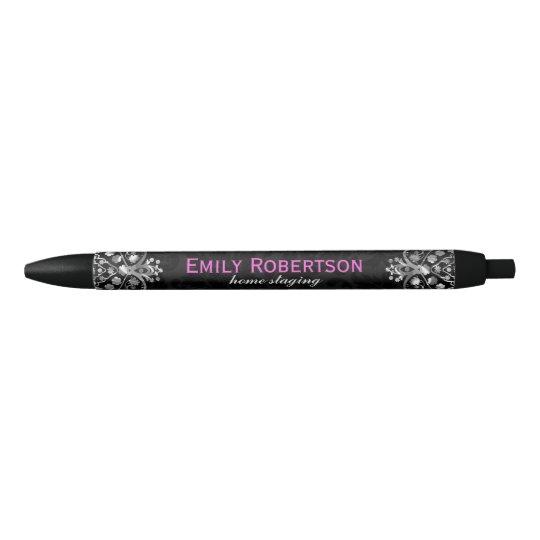 Elegant Black Damasks Silver Metallic Vintage Lace Black Ink Pen